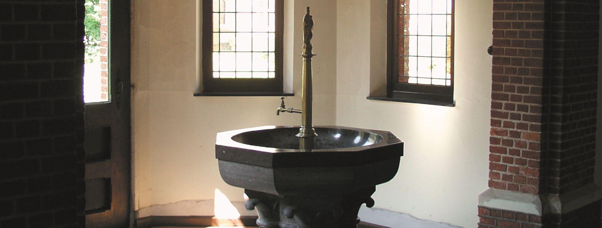 Il fonte battesimale dell'abbazia di Westmalle