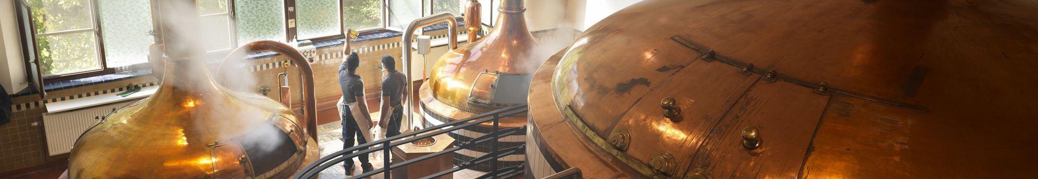 Debate en la sala histórica de elaboración de cerveza de Westmalle