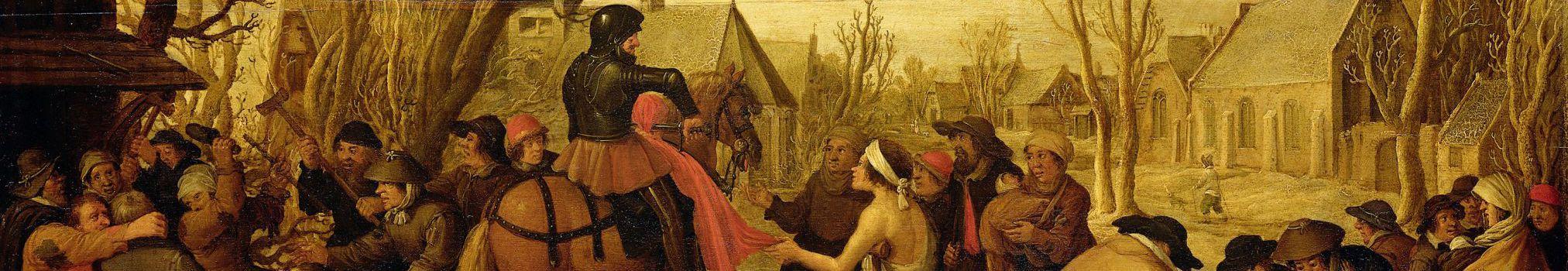 Peinture de Saint Martin déchirant son manteau pour le donner aux pauvres