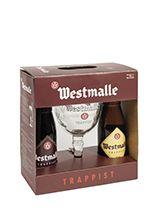 Westmalle geschenkverpakking 2 flessen van 33 cl met glas