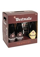 Westmalle gift pack of six 33 cl bottles with glass