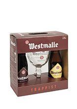 Westmalle gift pack of two 33 cl bottles with glass